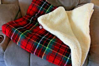 Vtg Tennessee Woolen Mills Master Weavers Sherpa Lined Plaid Snap Blanket Usa