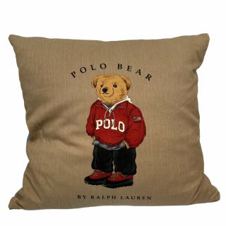 Ralph Lauren Polo Bear Red Hoodie Rugby Tan Goose Down Throw Pillow