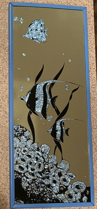 """Vintage 90s Head West Wall Mirror 20 """" X8 """" W Blue Angel Fish Coral Bubble & Frame"""