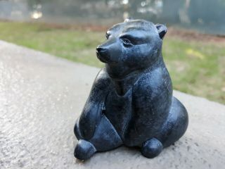 Vintage Hand Carved Boma Soapstone Bear Canada