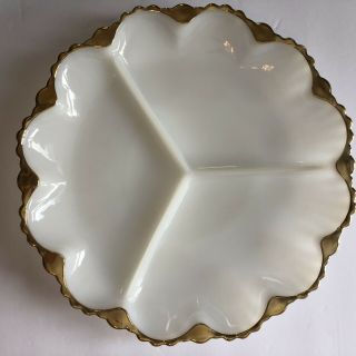 "Vintage Milk White Glass With Gold Trim 10"" Divided Appetizer Tray Dish"