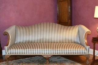 Chippendale Style Claw Foot Camelback Sofa