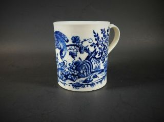 Antique Dr.  Wall 1st Period Worcester Caughley Mug Parrot Pecking Fruit C.  1775