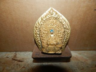 19th C Tibetan/nepal Gilt Bronze Buddha Finial