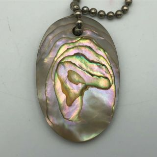 """Vintage Abalone Shell Fob Keychain Approx.  1 - 5/16 """" X 2 """" Q3"""