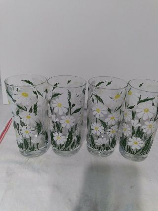 Daisy Vintage Drinking Glasses Set Of 4,  Flowers Are In Relief