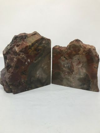 """Vintage Petrified Wood Bookends Double Felted 4"""" X 3 1/2"""" X 1 3/4 """""""