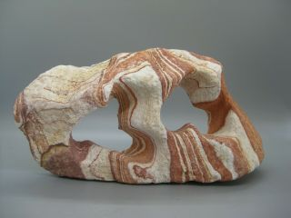 """Vtg Natural Abstract Navajo Sandstone Double Arch Sculpture Stone 8 1/2 """" Wide"""