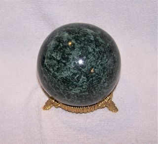 """Vintage 3 3/4 """" Polished Green Marble Sphere / Paper Weight & Metal Stand"""
