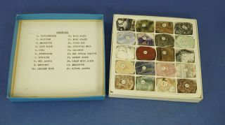 Vintage Box Of 20 Mineral / Gemstone Samples.  Obsidian,  Lace Agate,  Opal,  Etc