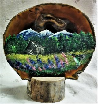 """Vtg Hand Painted Brown Geode With Stand - Cabin In Mountains - 5.  50 """" Tall X 5.  75 """" W"""