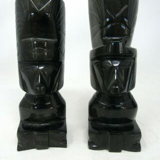 Vintage Onyx Hand Carved Inca/aztec Totem Book Ends Figurine Paperweight Carving
