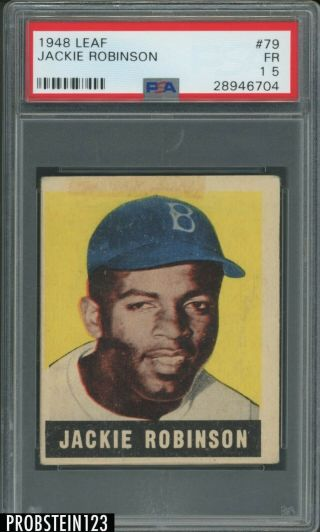 "1948 Leaf 79 Jackie Robinson Rc Rookie Hof Psa 1.  5 "" Looks Undergraded """